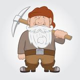 Dwarf with pick. Funny cartoon Dwarf with pick. Vector Illustration Royalty Free Stock Photos