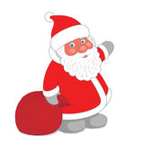 Dwarf Santa Claus with sack of gifts Stock Images