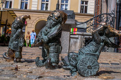 Dwarf Slepak Gluchak Wskers Wroclaw. Symbol of Wroclaw, brass dwarf. There are more than 230 in the city and still they come Stock Photos