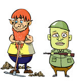 Dwarf and soldier royalty free illustration