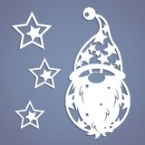 Dwarf. Stencil. Christmas gnome. Christmas gnome. Stencil. Template for Christmas cards, invitations for Christmas party. Image suitable for laser cutting stock illustration