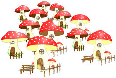 Dwarf village with dotted mushroom houses Royalty Free Stock Images