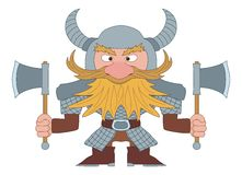Dwarf warrior. Dwarf, redhead warrior in armor and helmet standing with battle ax, funny comic cartoon character Stock Photography