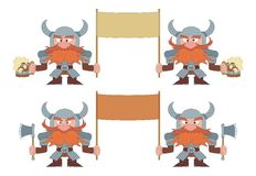 Dwarfs with banners, set Royalty Free Stock Image