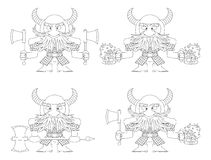 Dwarfs with beer mugs and axes, outline. Dwarfs Warriors in Armor and Helmets Standing with Beer Mugs and Axes, Comic Cartoon Characters, Set, Black Contour On Stock Photography