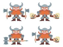 Dwarfs with beer mugs and axes, set. Dwarfs warriors in armor and helmets standing with beer mugs and axes, funny comic cartoon characters, set Stock Images