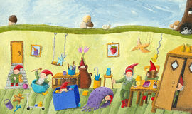 In the dwarfs childrens room. Acrylic illustration of the dwarfs childrens room Stock Image