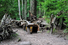 Dwarfs fairy houses in the mysterious woods. Stock Image