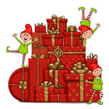 Dwarfs on the mountain of gifts. Isolated vector object on white background Royalty Free Stock Photography
