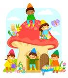 Dwarfs in a mushroom house. Little dwarfs playing and working in a mushroom house Stock Image
