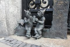 Dwarfs in Wroclaw, Poland. Bronze statues around the city royalty free stock photo