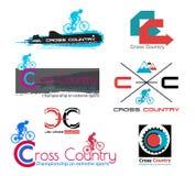 Dwars de fietsembleem van het land Het symbool van de bergfiets Royalty-vrije Stock Afbeelding