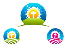 Dwars Godsdienstig symbool, het ontwerp van het kruisbeeldembleem en pictogram Stock Foto's