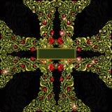 Dwars groen shinny bloemenpatroon als achtergrond Royalty-vrije Stock Afbeelding