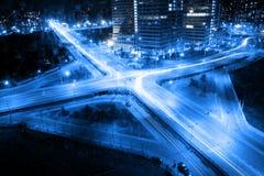 Dwars verbinding in de avond Stock Fotografie