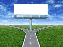 Dwars wegen met aanplakbord Stock Afbeelding