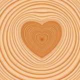 Dwarsbesnoeiing van een logboek met donkere mergvoorraad in de vorm van een hart Royalty-vrije Stock Fotografie