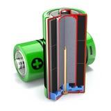 Dwarsdoorsnede van alkalische batterij Stock Foto