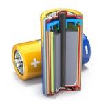 Dwarsdoorsnede van droge batterijbatterij Royalty-vrije Stock Foto's