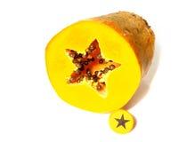 Dwarsdoorsnede van een papaja Royalty-vrije Stock Afbeelding
