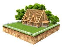 Dwarsdoorsnede van grond met een nieuw huis in aanbouw Royalty-vrije Stock Foto's