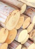 Dwarsdoorsnede van het hout, brandhoutstapel stock afbeelding