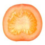 Dwarsdoorsnede van Tomaat op Witte Achtergrond wordt geïsoleerd die Royalty-vrije Stock Foto