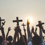 Dwarsgodsdienst Katholiek Christian Community Concept royalty-vrije stock fotografie