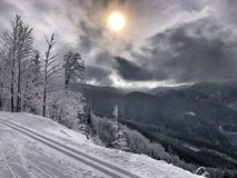 Dwarsland Ski Track royalty-vrije stock foto's
