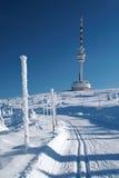 Dwarsland Ski Track Below Praded royalty-vrije stock foto's