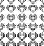Dwarssteek, naadloos decoratief patroon met harten Borduurwerk en het breien Abstracte geometrisch stock illustratie