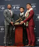 Dwayne Haskins, Kyler Murray, Tua Tagovailoa. NEW YORK-DEC 8: L-R Ohio State Buckeyes quarterback Dwayne Haskins, Oklahoma Sooners quarterback Kyler Murray and stock image