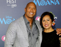 Dwayne Johnson and Ata Johnson. Dwayne Johnson and mom Ata Johnson at the AFI FEST 2016 Premiere of `Moana` held at the El Capitan Theatre in Hollywood, USA on Royalty Free Stock Image