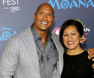 Dwayne Johnson and Ata Johnson. Dwayne Johnson and mom Ata Johnson at the AFI FEST 2016 Premiere of `Moana` held at the El Capitan Theatre in Hollywood, USA on Stock Images