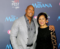 Dwayne Johnson and Ata Johnson. Dwayne Johnson and mom Ata Johnson at the AFI FEST 2016 Premiere of `Moana` held at the El Capitan Theatre in Hollywood, USA on Royalty Free Stock Photography