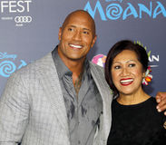 Dwayne Johnson and Ata Johnson. Dwayne Johnson and mom Ata Johnson at the AFI FEST 2016 Premiere of `Moana` held at the El Capitan Theatre in Hollywood, USA on Stock Photos