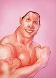 Dwayne Johnson a caricatura da rocha Fotografia de Stock