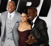 Dwayne Johnson, Michelle Rodriguez och Tyrese Gibson Royaltyfri Bild
