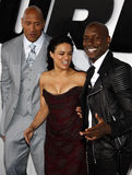 Dwayne Johnson, Michelle Rodriguez och Tyrese Gibson Fotografering för Bildbyråer