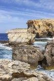 Dwejra Bay, a year after the collapse of Azure Window, San Lawrenz Gozo Malta. Dwejra Bay with Dwejra Point, a year after the collapse of Azure Window, San Stock Photo