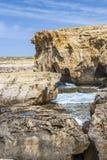 Dwejra Point, a year after the collapse of Azure Window, San Lawrenz Gozo Malta. Dwejra Point in March 2018, a year after the collapse of Azure Window, San Stock Images