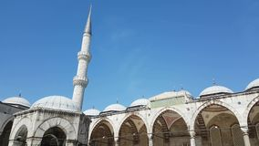 Dwell and minaret of Sultan Ahmed Mosque in Istanbul stock video footage
