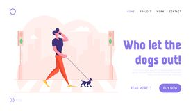 Free Dweller Having Promenade With Pet Website Landing Page. Relaxed Pedestrian With Dog Talking By Smartphone Stock Images - 164207304