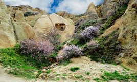 Dwelling of the hermit. Cave in the rock that served as a dwelling hermit-Christian in the beginning of our era. I century of our era. The Area Of Cappadocia Royalty Free Stock Images