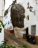 Dwelling  house built with rock inside in spanish town Royalty Free Stock Photos
