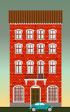 Dwelling house. Classical town architecture. Vector historical building. City infrastructure. Cityscape old red brick house. Real. Classical town architecture Stock Photography