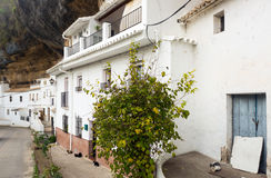 Dwelling  houses built into rock. Setenil de las Bodegas Stock Photography