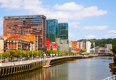 Dwelling houses at embankment of   river . Bilbao Stock Photo