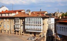 Dwelling houses in historic part of  Vitoria-Gasteiz Stock Photos