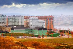 Dwelling houses at seafront.A Coruna Stock Image